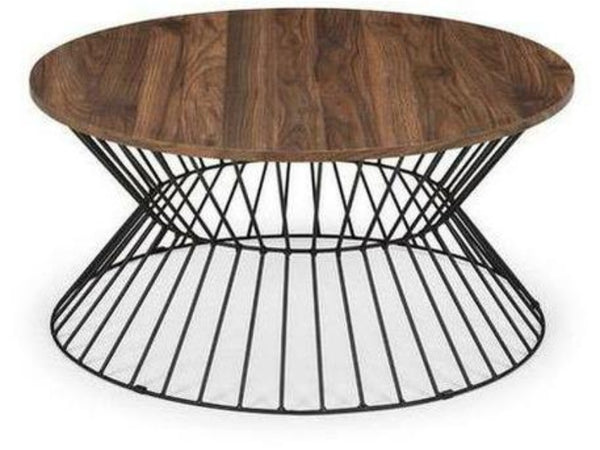 Jersey Round Wire Coffee Table Walnut