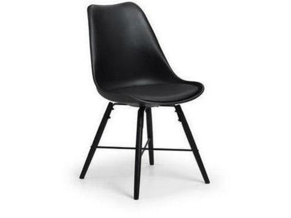 Kari Dining Chair Black Seat With Black Legs (Pack Of 2)