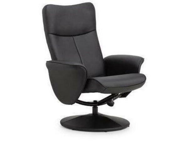 Lugano Swivel & Recline Chair Black Faux Leather