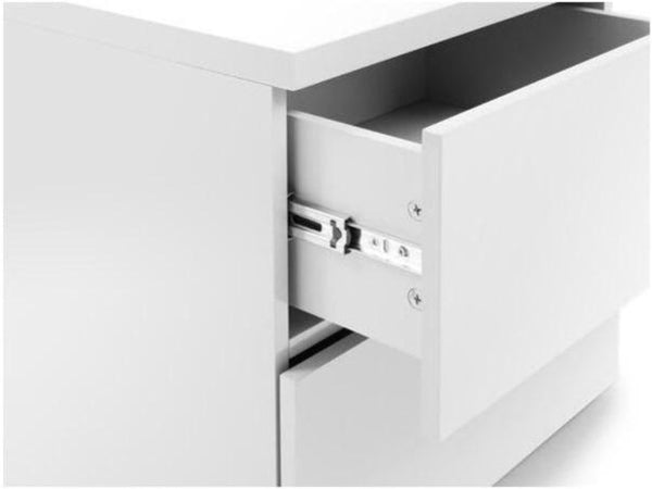 Monaco 2 Drawer Bedside - White Gloss