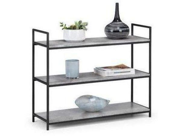 Staten Low Concrete Black Bookcase