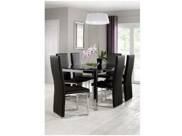 Tempo Black Faux Leather Dining Chair (Pack Of 2)