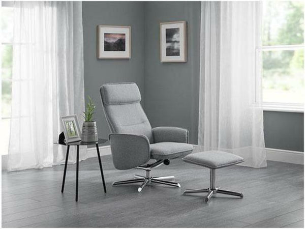 Aria Recline Chair With Chrome Base - Grey Linen