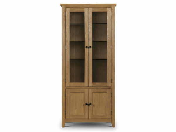 Astoria Oak Glazed Display Cabinet Assembled