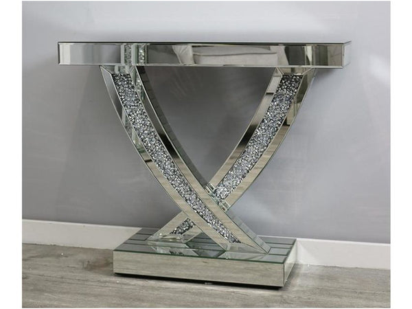 Mocka Silver MDF Glass Swift Console Table