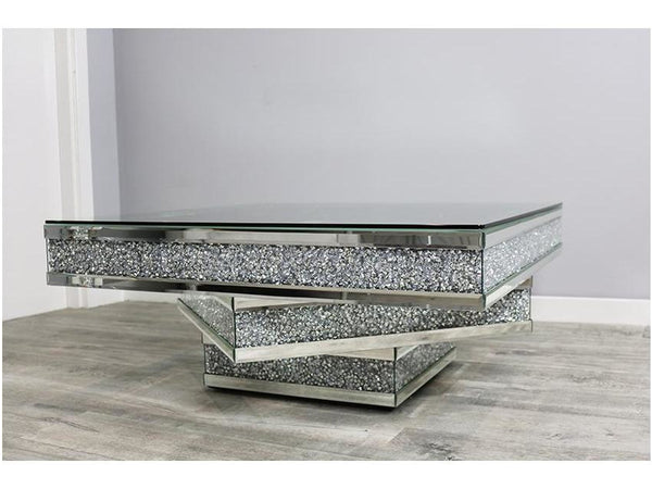 Mocka Silver Glass Infinity Coffee Table