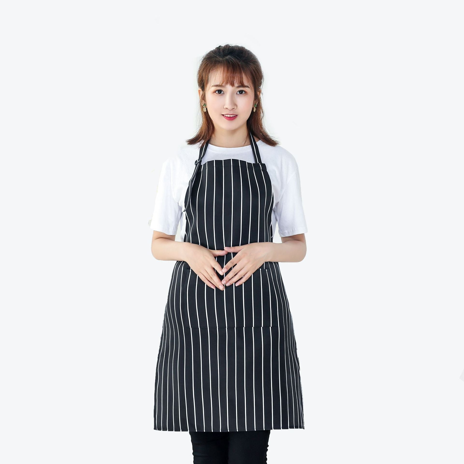 Hanging neck striped apron advertising Korean waterproof apron polyester chef apron