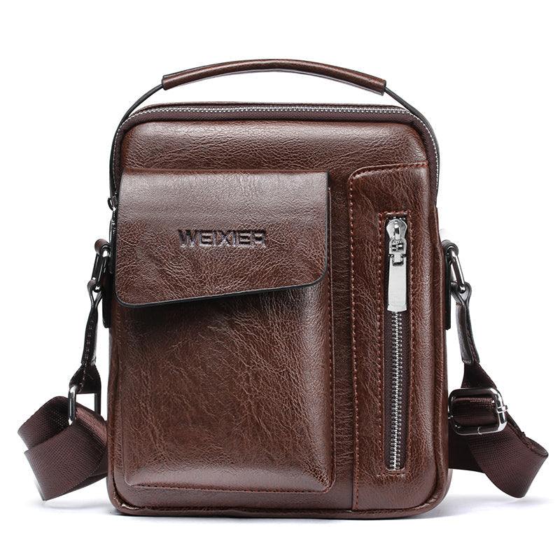 WEIXIER Brand High Quality Business Men Bag Big Capacity Leather Retro Rectangle Messenger Bag Men Casual Shoulder Crossbody Bag