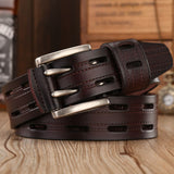 High Quality Leather Belts for Men Brand Strap Male Double Pin Buckle Fancy Vintage Jeans Belt
