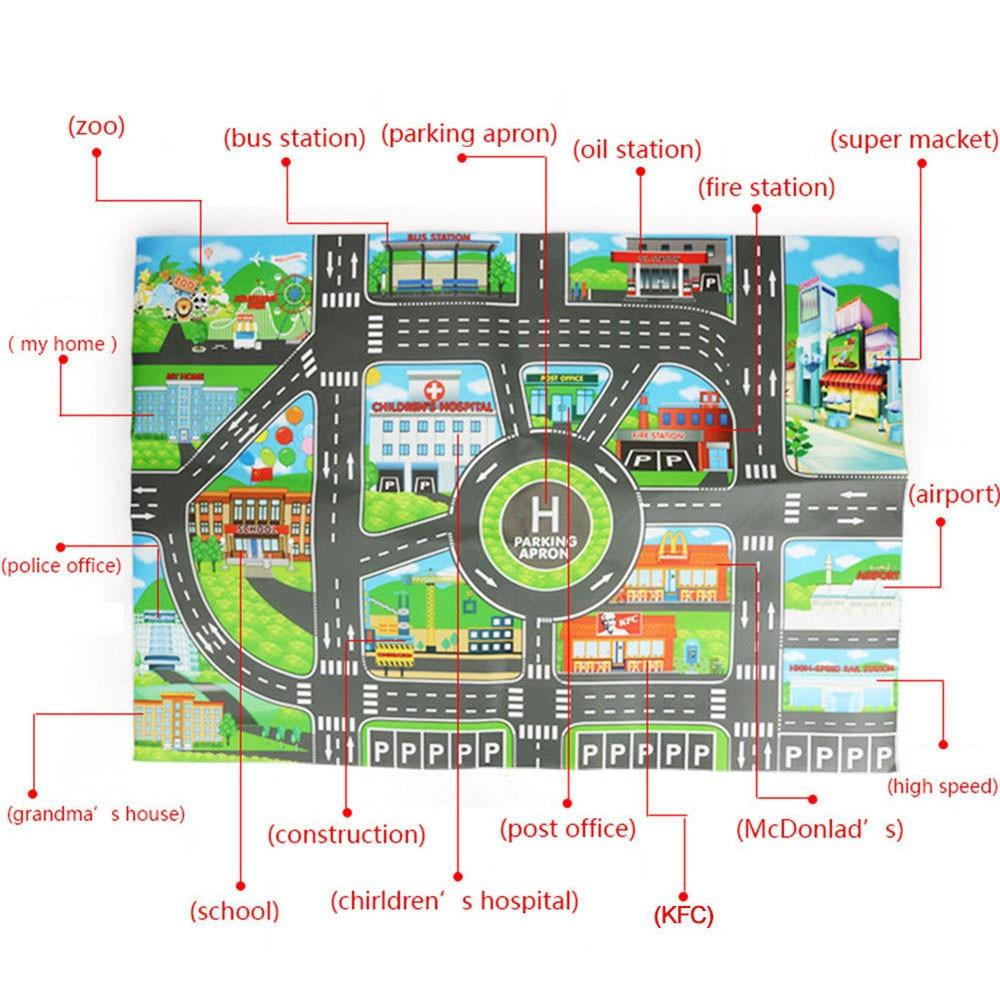 Kids City Road Buildings Parking Map Play Mat Children Game Scene Car Map Educational Toys For Baby Boys Girls
