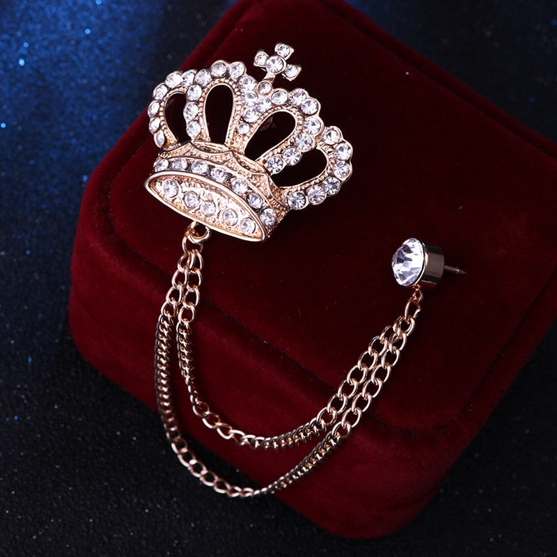 Rhinestone Crown Brooch Pin