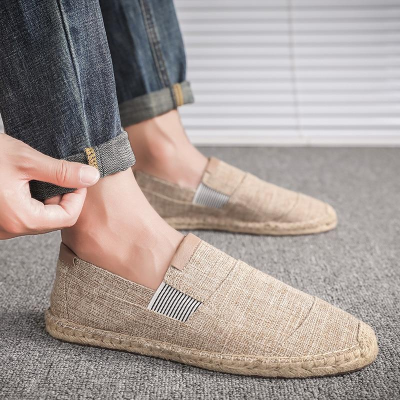 Mens Shoes Casual Male Breathable Canvas Shoes Men Chinese Fashion Soft Slip On For Men Loafers Driving Shoes