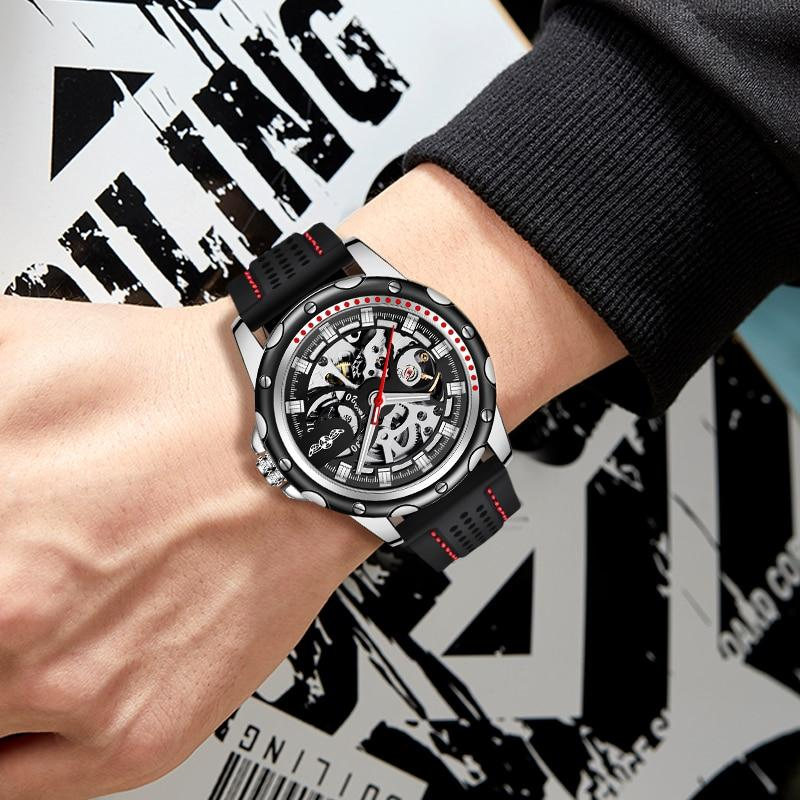 WINNER Brand New Fashion Men Automatic Mechanical Watches Luxury Brand Skeleton Luminous Hands Rubber Strap Sport Clock