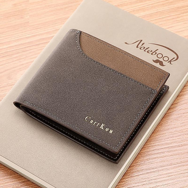 PU Three Fold Men Short Wallet
