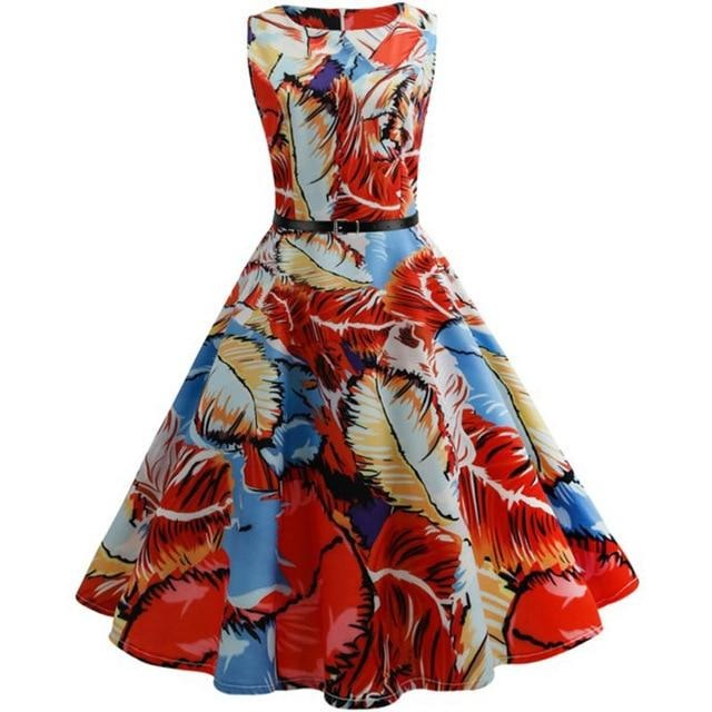 Women Summer Dress Floral Print Retro Vintage 1950s 60s Casual Party Office Robe Rockabilly Dresses