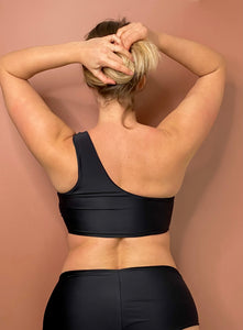 Preorder 2021 - One Shoulder Top (Bra) - Black Faux Leather Effect / Mat