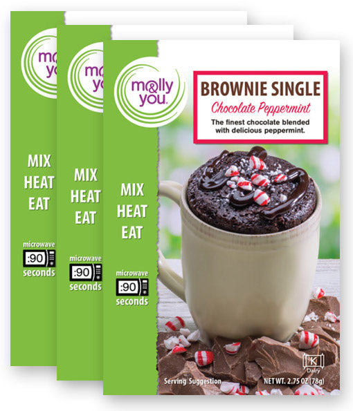 Chocolate Peppermint Microwave Brownie Single: 3-Pack
