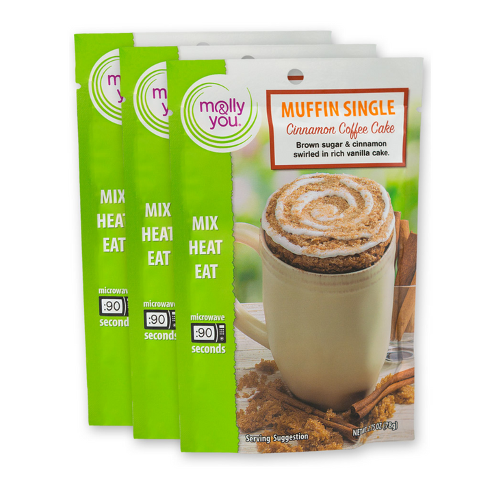 Cinnamon Coffee Cake Microwave Muffin Single: 3-Pack