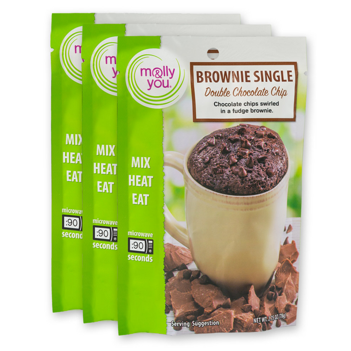 Double Chocolate Chip Microwave Chocolate Single: 3-Pack