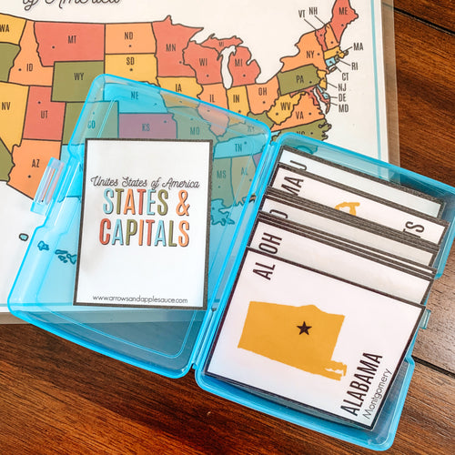 U.S. States & Capitals Printable Flashcards - Arrows And Applesauce