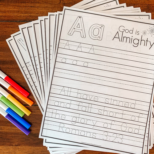 Bible Verse Alphabet Printable Tracing Pages - Arrows And Applesauce