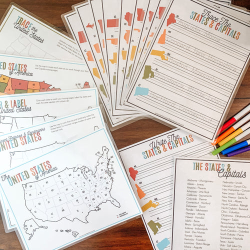 States & Capitals Printable Activity BUNDLE - Arrows And Applesauce