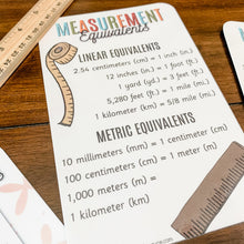 Load image into Gallery viewer, Math Facts Printable Cards - Measurements & Laws