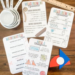 Math Facts Printable Cards - Measurements & Laws