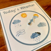 Load image into Gallery viewer, Montessori Weather Wheel & 3 Part Weather Cards - Arrows And Applesauce