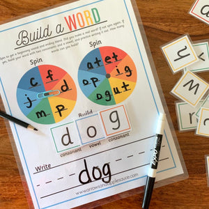 "C.V.C. Words Printable ""Build A Word"" Game - Arrows And Applesauce"