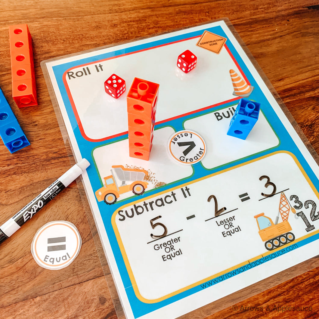 Subtraction Math Dice Game Printable - Arrows And Applesauce