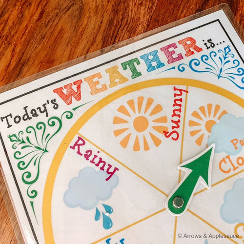 Weather Wheel Circle Time Printable - Arrows And Applesauce