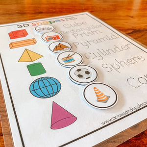 3D Shapes Printable Matching Game - Arrows And Applesauce