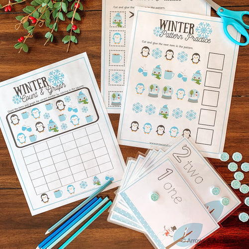 Preschool Math Printable Winter Activity Pack - Arrows And Applesauce