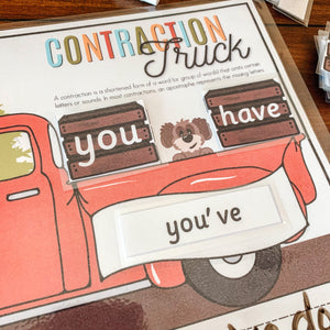 Contraction Truck Printable Reading Game - Arrows And Applesauce