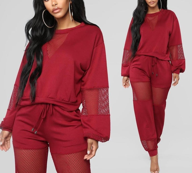 Two Piece Pants Set 2020 Tracksuit Mesh Sexy Jogging Femme