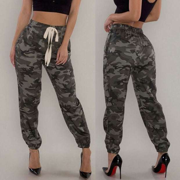 Camouflage Autumn Casual Military Army Joggers High Waist  Femme