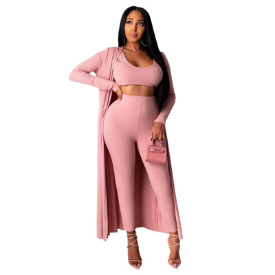 Rib Knit Sweater 3 Piece Set Lounge Wear
