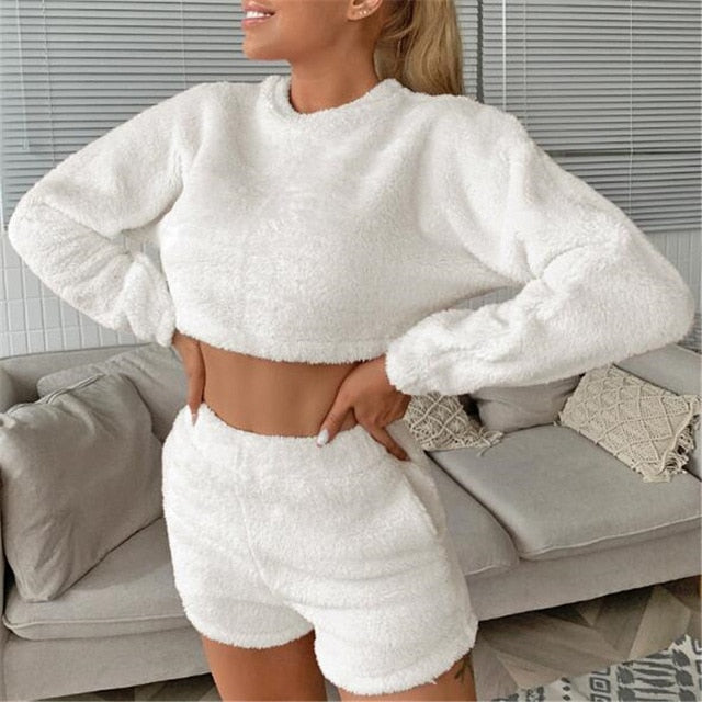 Two Piece Set Fluffy Lounge Wear