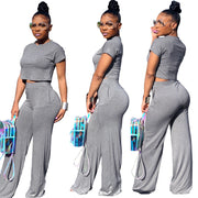 two piece set women crop top summer lounge wear club outfits trendy clothes for fashion bodycon sexy Pure color wide leg pants
