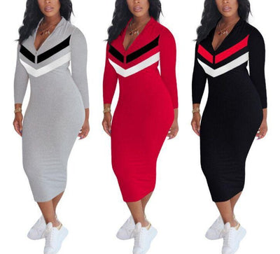 casual Long Sleeve Zipper Up Striped Splice (curve sizes available)