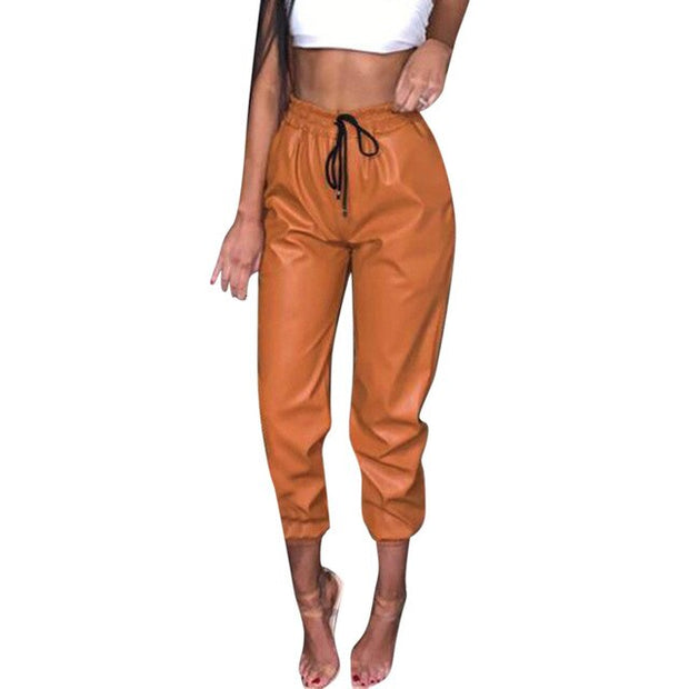 Faux Leather Drawstring High Street Chic Trousers Harem Pant joggers