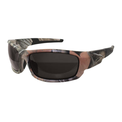 Safety Glasses, Forest Camo with Non-Polarized Smoke Lens