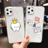 Cute Wisdom Teeth Dentist Tooth TPU Soft  Silicone Phone Case For iPhone 11 PRO MAX X XR XS MAX 7 8 6S Plus Cover Shell
