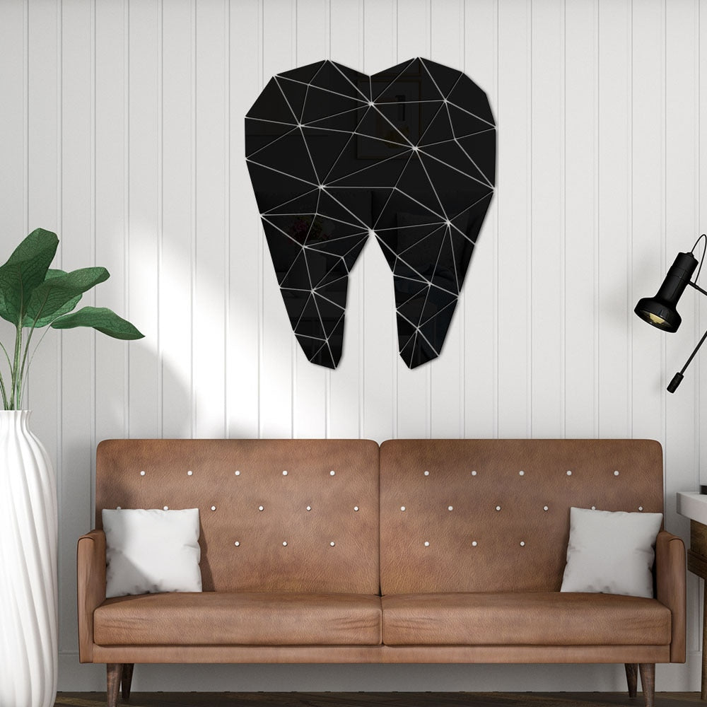 Dental Care Tooth Shaped Acrylic Mirrored Wall Stickers Dentist Clinic Stomatology 3D Wall Art Decal Orthodontics Office Decor