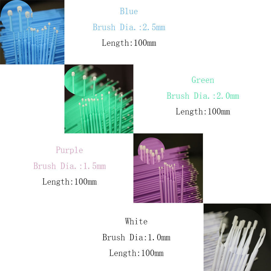 400 PCS Dental Disposable Micro Applicator Brush Bendable 1.2/1.5/2.0/2.5 mm