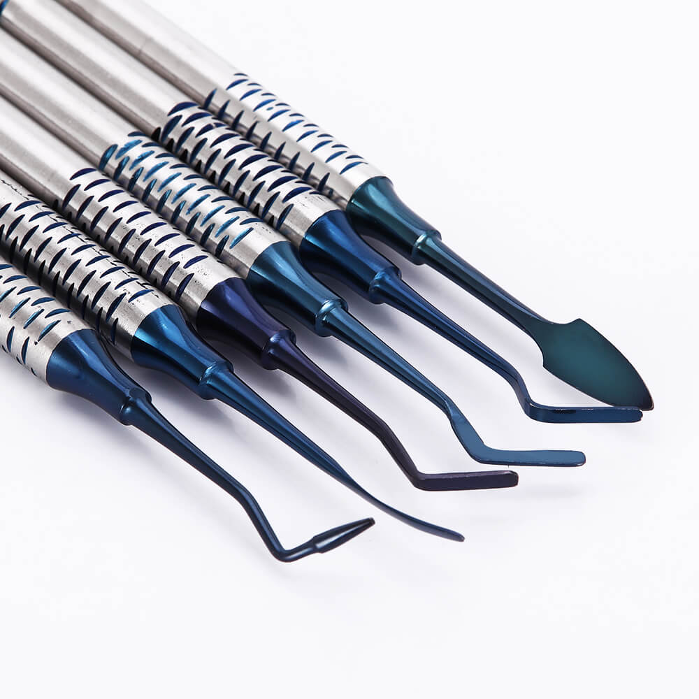 6Pcs/set Dental instrument Composite Resin Filling Spatula Titanium Plated Head Filler Thick Handle Restoration Set Resin