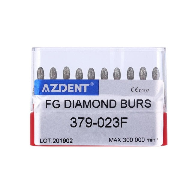 AZDENT Dental FG Diamond Burs Drills For High Speed handpiece Super Coarse Diamond Abrade Crown Cavity Preparation 10 pcs/box