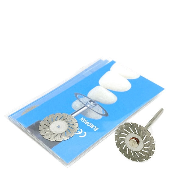 5pc/set Dental Ultra-thin Double Sided Sand Porcelain Diamond Cutting Disc Mandrel Diamond Disc  Dentistry Polishing Tools