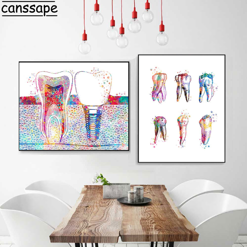 Dental Art Picture Tooth Implant Canvas Print Dentist Wall Art Painting Medicine Hygienist Poster Tooth Watercolor Clinic Decor